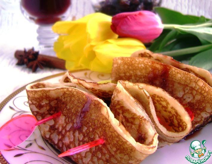 Рецепт: Блинчики со сливой в винной карамели