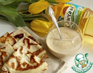Melt pancakes with pecan condensed milk