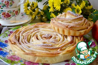 Рецепт: Яблочный пирог Чайная роза