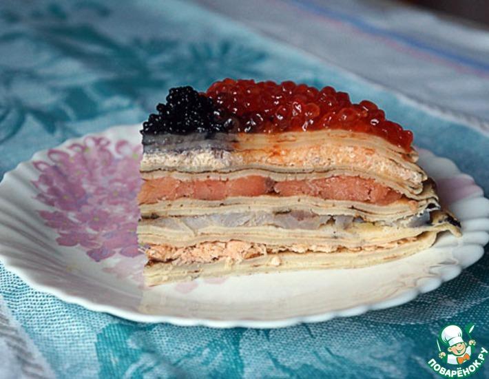 Рецепт: Блинный пирог с рыбой и икрой