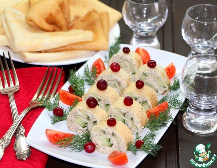 Рецепт: Закуска Блинчики-рулончики для праздничного стола