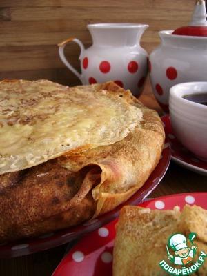 Запечь пирог в разогретой до 180 градусов духовке в течении 15-20 минут. Оставить в выключенной духовке под прикрытием фольги еще на 10 минут. А затем дать постоять под фольгой на столе еще минут 5.