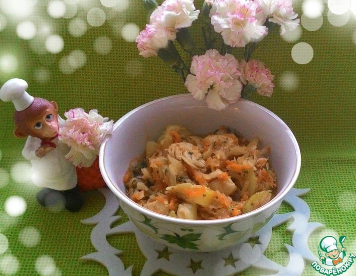 Рецепт: Тушеная курица с овощами