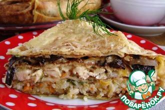 Рецепт: Блинный пирог с курицей и грибами
