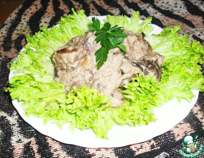 Рецепт: Фрикасе из печени с грибами