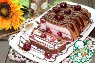 Рецепт: Вишнево-творожное суфле в шоколадных блинчиках