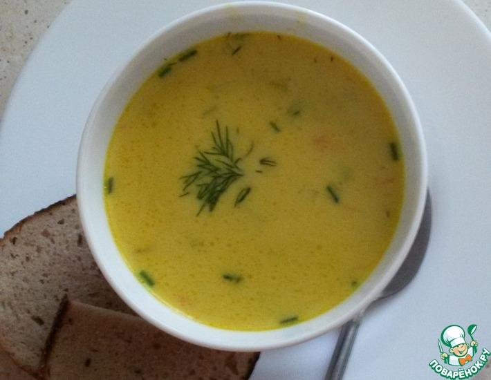 Рецепт: Сырный суп с креветками
