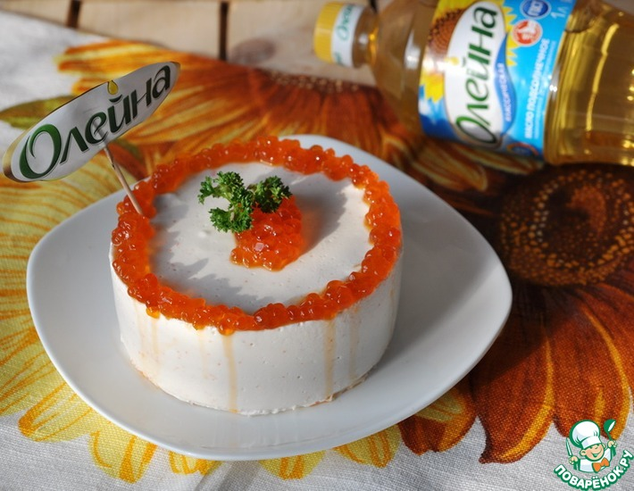 Рецепт: Блинный чизкейк с креветочным муссом