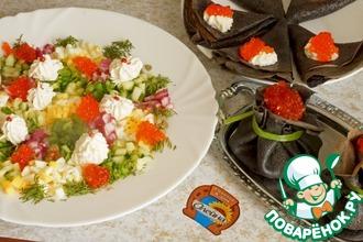 Рецепт: Овощной топпинг с икрой к черным блинчикам