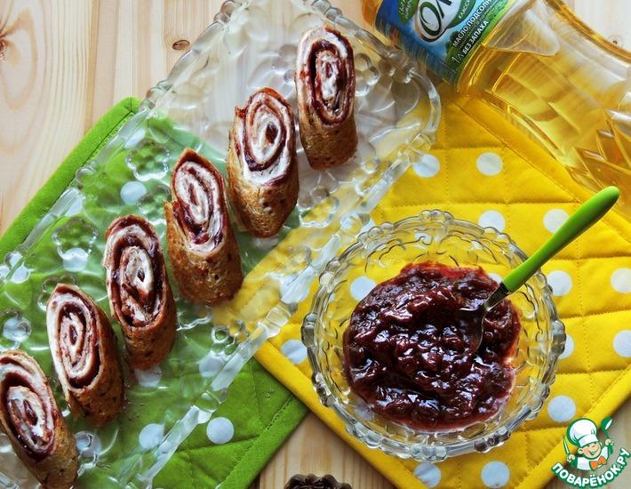 Рецепт: Блинные роллы Чернослив в шоколаде
