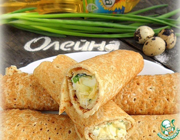 Рецепт: Блины с яично-луковым салатом