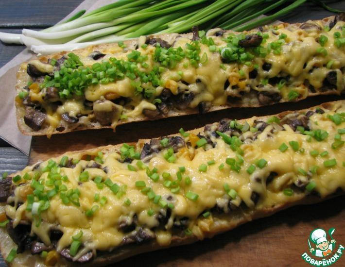 Рецепт: Багет, запеченный с грибами и сыром