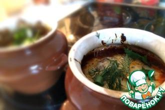 Рецепт: Пельмени в горшочках с томатной пастой