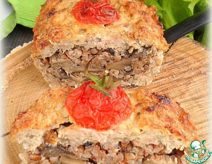 Рецепт: Гречнево-грибная запеканка в мясном хлебе