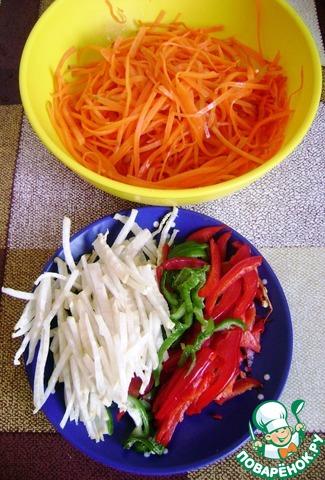 теплая фунчоза дайкон перец морковь рецепт