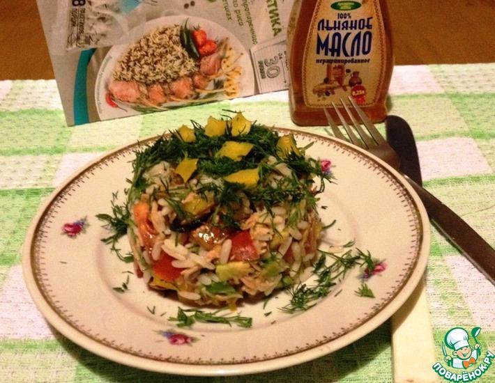 Рецепт: Овощной салат с рисом и тунцом