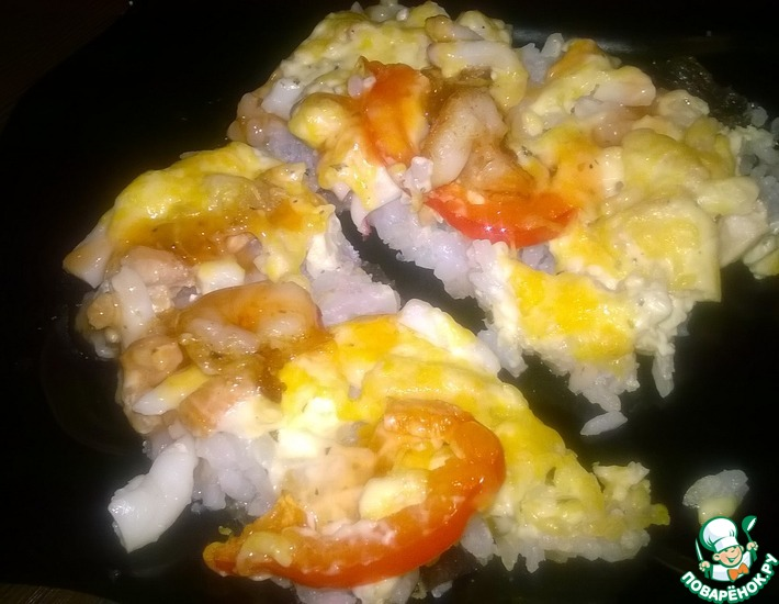 Рецепт: Суши-пицца Морская