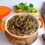 Рис с мясом и черемшой