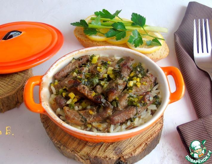 Рецепт: Рис с мясом и черемшой