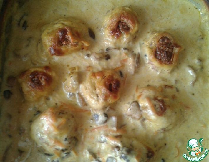 Рецепт: Мясные шарики в грибном соусе
