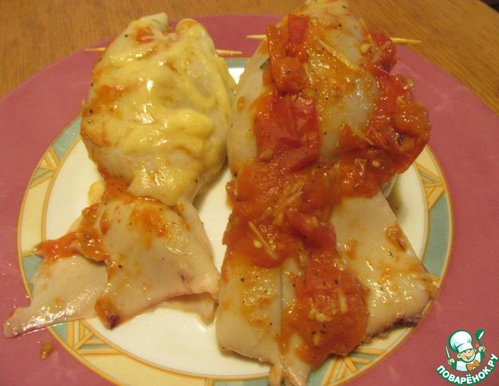 Рецепт: Кальмары, фаршированные грибами и картофелем