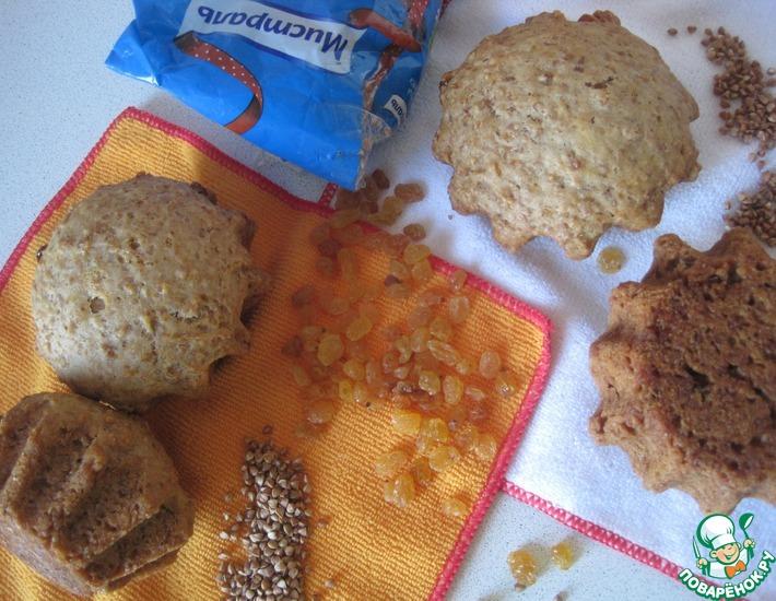 Рецепт: Кекс с гречкой, повидлом и изюмом