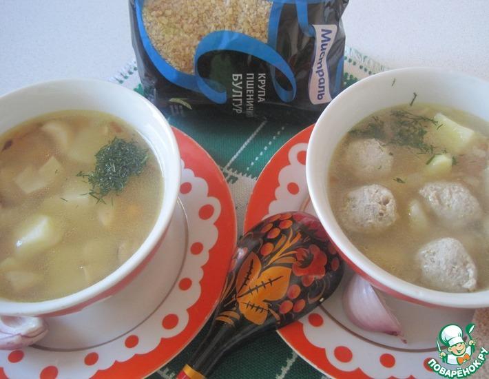 Рецепт: Суп грибной с фрикадельками и булгуром