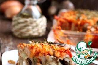 Рецепт: Ленивые пельмени под овощным соусом