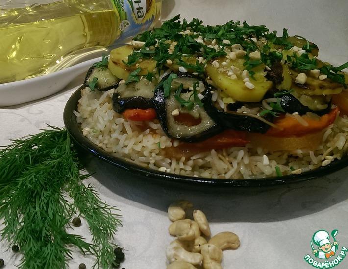 Рецепт: Постный перевертыш с рисом и овощами