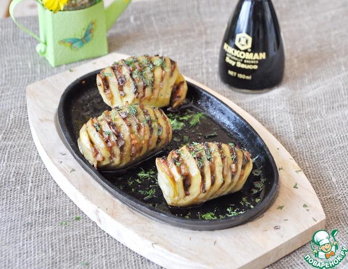 Рецепт: Картофель Гармошка, фаршированный грибами
