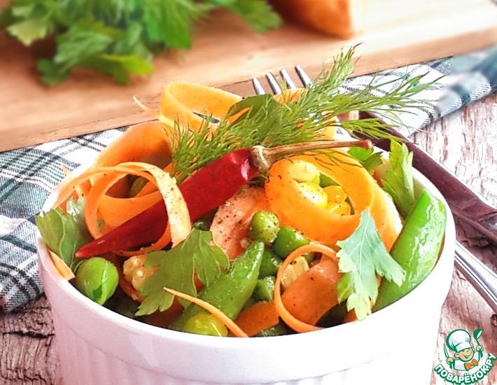 Рецепт: Острый салат из замороженных овощей