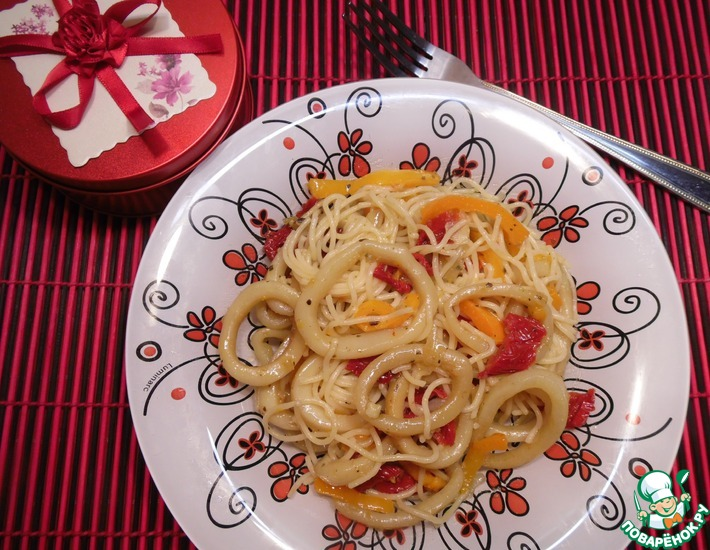 Рецепт: Спагетти с кальмарами