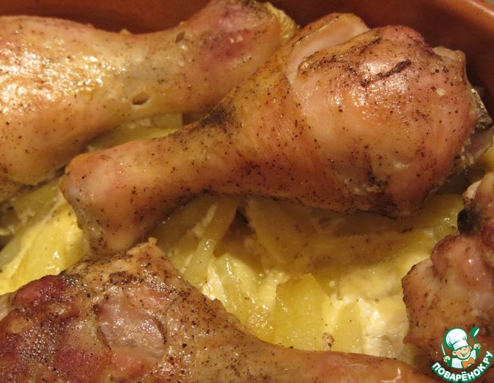 Рецепт: Курица с картофелем 2 в 1