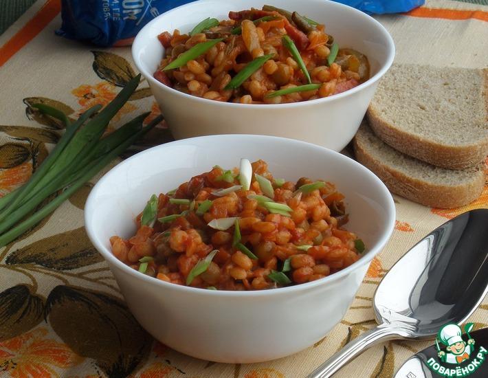 Рецепт: Перловка с овощами в томатном соусе