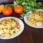 Булгур с запеченными овощами и фрикадельками