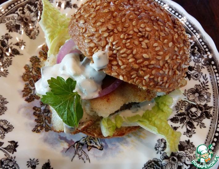 Рецепт: Бургер с рыбным филе