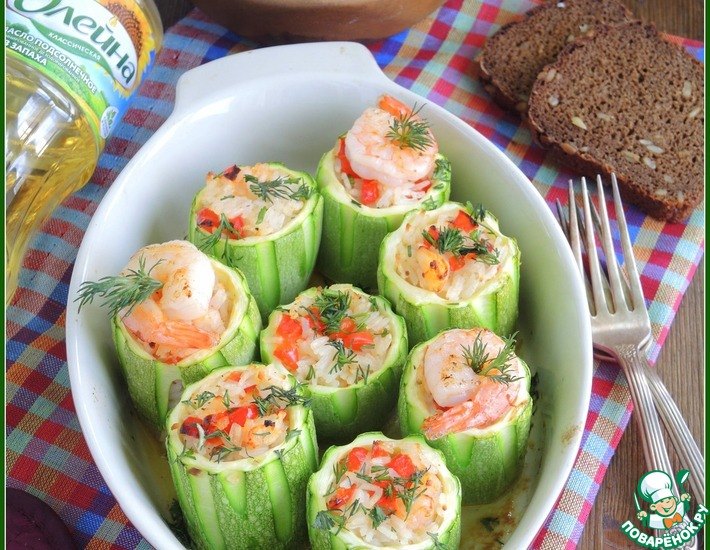 Рецепт: Кабачки, фаршированные рисом с креветками