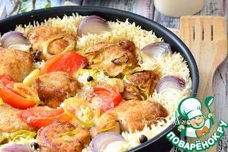 Рецепт: Грудка куриная, запеченная с рисом и овощами