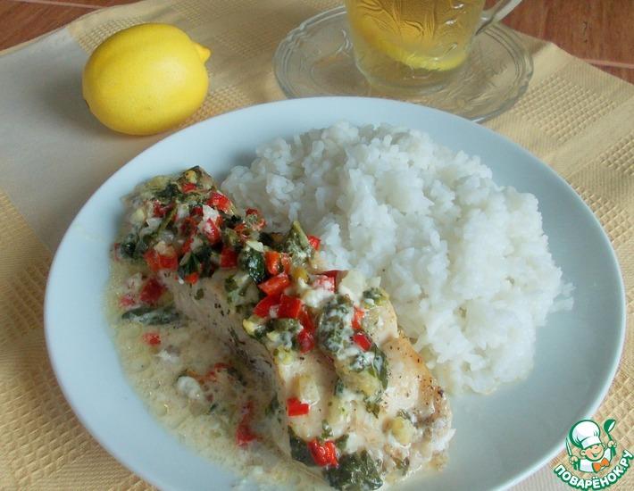 Рецепт: Рыба под сливочным соусом с овощами