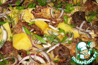 Рецепт: Бараньи рёбра с картофелем