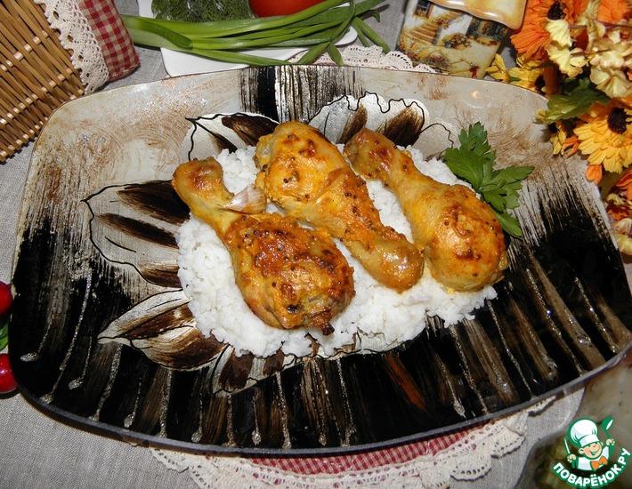Рецепт: Курица в соусе с запеченным чесноком