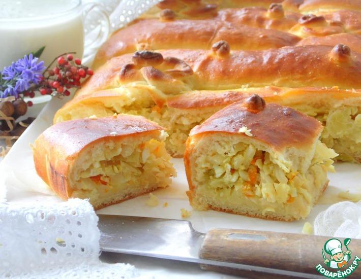 Рецепт: Дрожжевой пирог с капустой