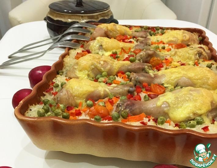 Рецепт: Рис с овощами и куриными ножками