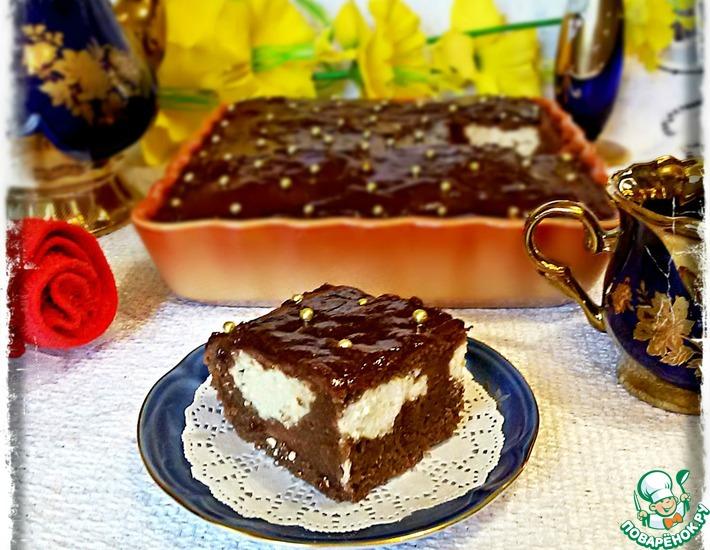 Рецепт: Шоколадный пирог с творожной прослойкой