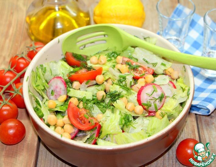 Рецепт: Овощной салат с нутом