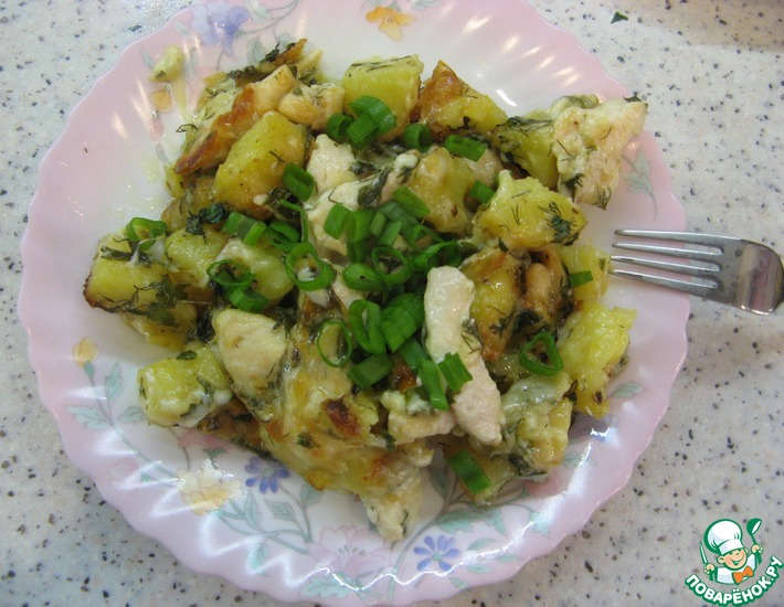 Рецепт: Запеченный сулугуни с картофелем и курицей