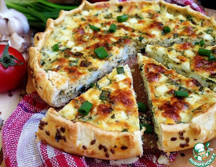 Рецепт: Галета с яйцом, луком и сыром