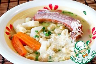 Рецепт: Суп с копчеными ребрышками и шпецле