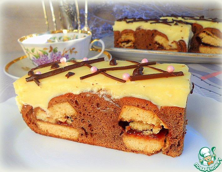 Рецепт: Шоколадный кухен с ванильным пудингом