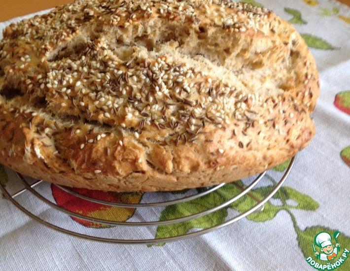 Рецепт: Ароматный хлеб без дрожжей на пиве